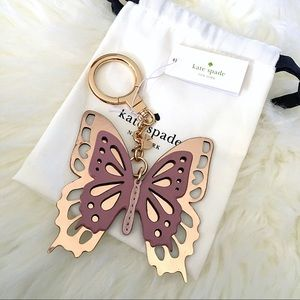 ♠️ Kate Spade Pink Gold Leather Butterfly Key Fob
